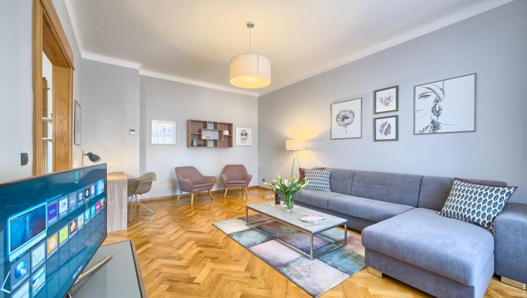 Spacious living area at Dusni 13 Apartment - Citybase Apartments
