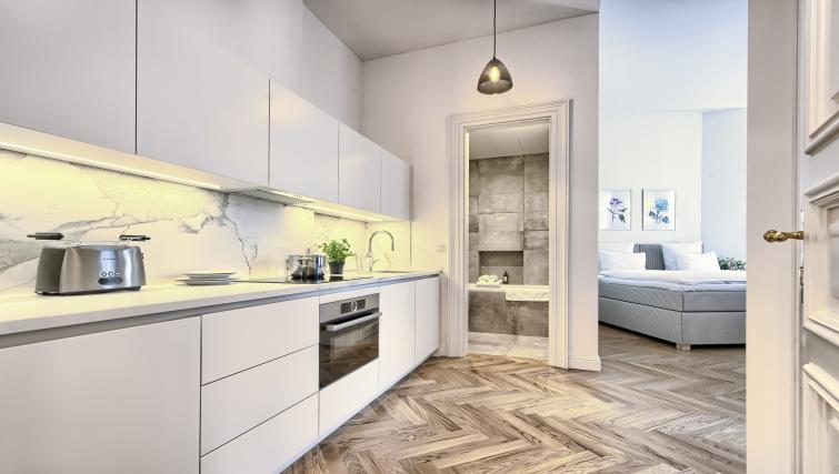 Kitchen view at Jilska Palace Apartments - Citybase Apartments