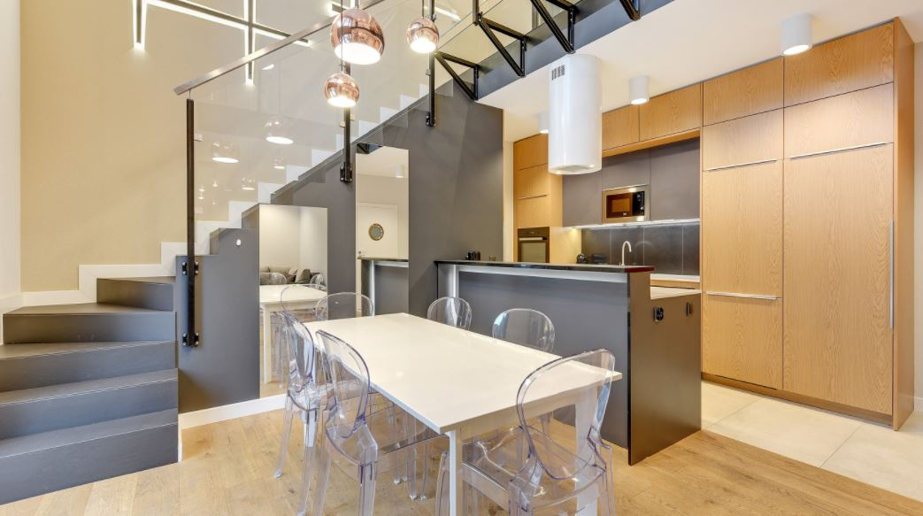 Dining area at Waterlane Residence Apartments, Srodmiescie, Gdansk - Citybase Apartments