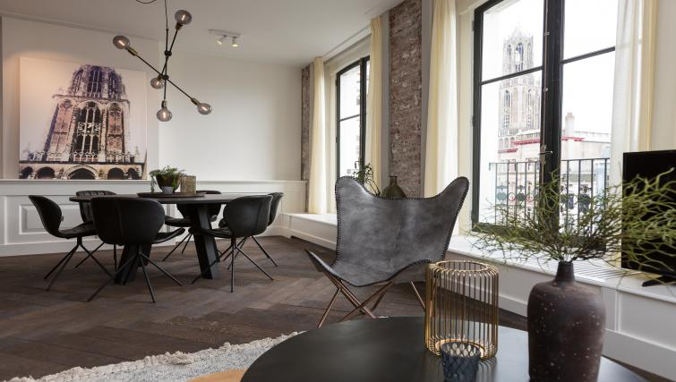 Dining area at Oudegracht 152E Apartments - Citybase Apartments