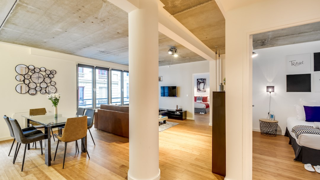 Open-plan living area at  Rue de Milan Apartments - Citybase Apartments