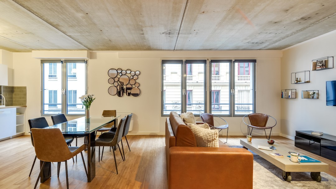 Large living room at  Rue de Milan Apartments - Citybase Apartments
