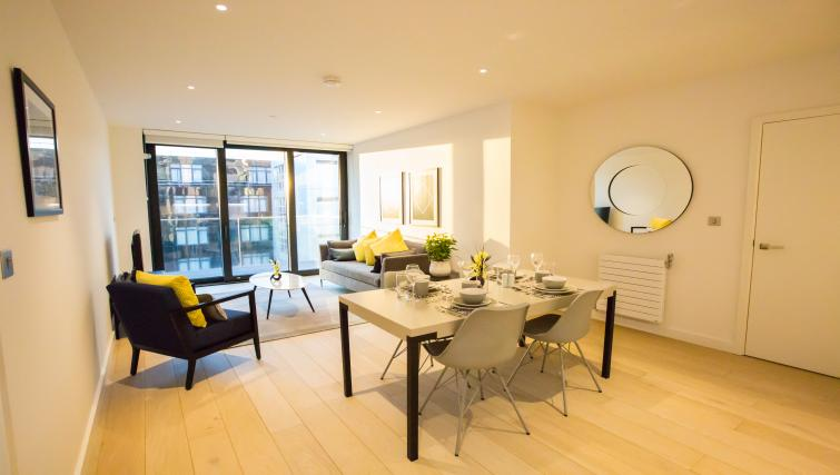 Living/dining space at GIGLI Apartments Wembley - Citybase Apartments