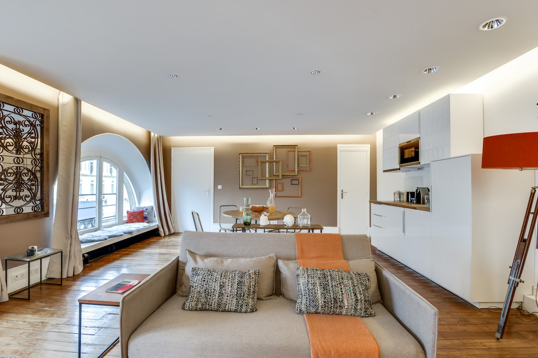Stylish living room at Saint Germain Apartments - Citybase Apartments