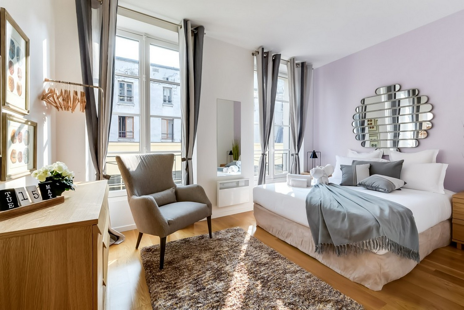 Stylish bedroom at Enghien Apartments - Citybase Apartments