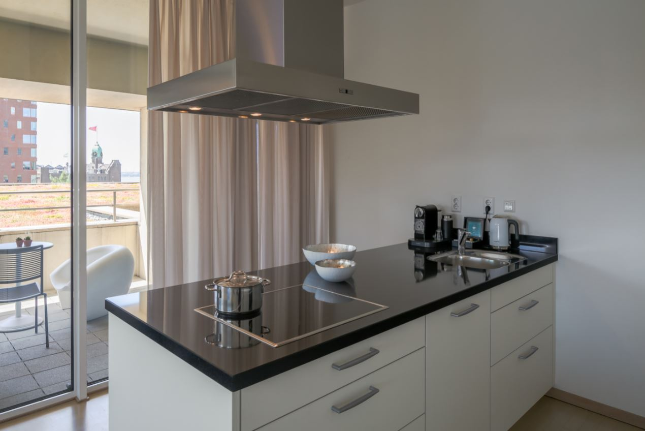 Equipped kitchen at New Orleans Apartments, Kop Van Zuid, Rotterdam - Citybase Apartments