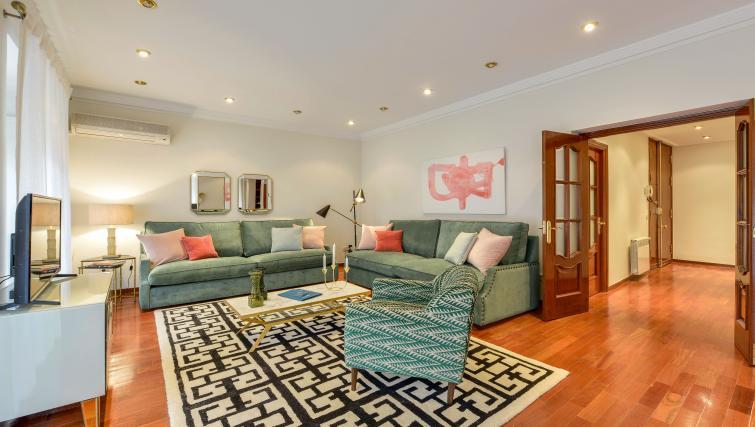 Living room at the Gran Via - San Bernardo Apartment - Citybase Apartments