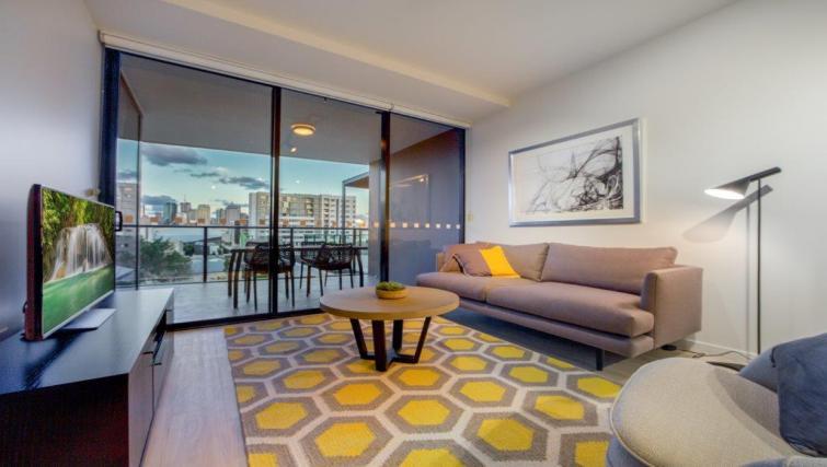 Living room at Astra Arena Brisbane Apartments - Citybase Apartments