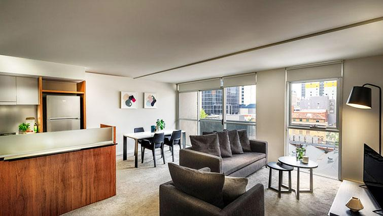 Living room at Little Bourke Apartments - Citybase Apartments