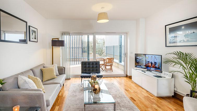 Living area at the Flamsteed Duplex Apartment - Citybase Apartments