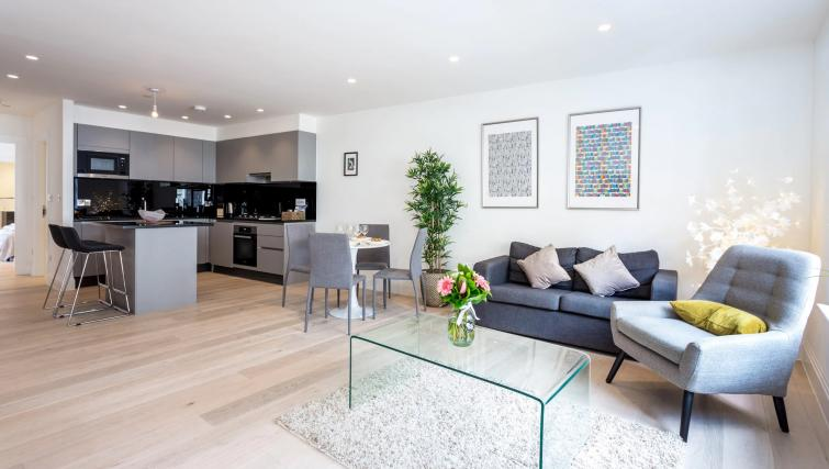 Open-plan living area at Oxford Circus Apartments - Citybase Apartments