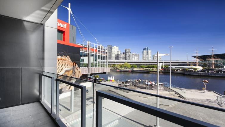 Balcony views at Flinders Wharf Apartments - Citybase Apartments