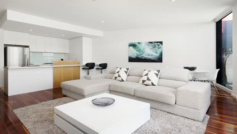 Living area at Flinders Wharf Apartments - Citybase Apartments