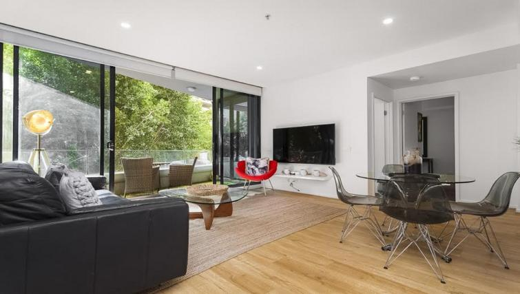 Modern living area at Flinders Wharf Apartments - Citybase Apartments