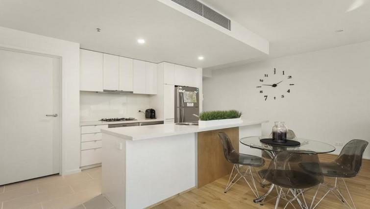 Open-plan kitchen at Flinders Wharf Apartments - Citybase Apartments