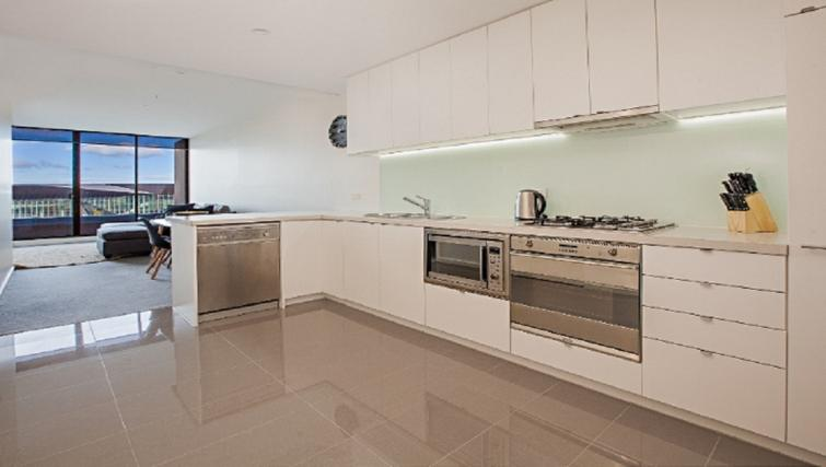 Modern kitchen at Flinders Wharf Apartments - Citybase Apartments