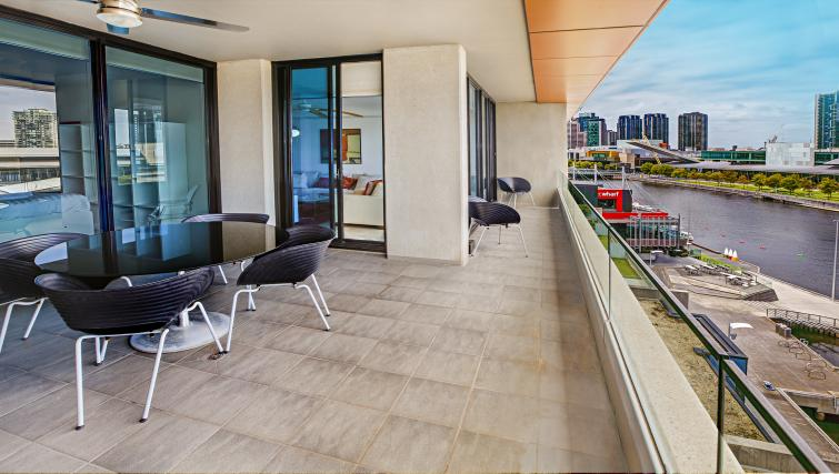 Large terrace at Flinders Wharf Apartments - Citybase Apartments