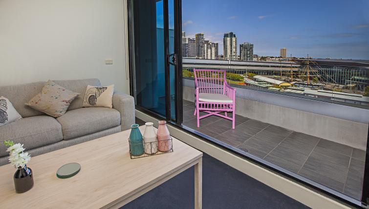 Balcony at Flinders Wharf Apartments - Citybase Apartments