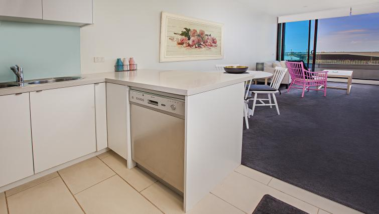 Kitchen counter at Flinders Wharf Apartments - Citybase Apartments