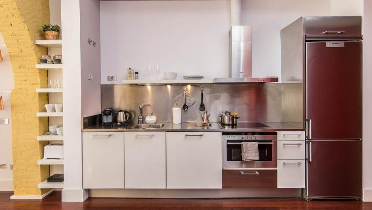 Kitchen at the Loft Olimpia Beach Apartment - Citybase Apartments