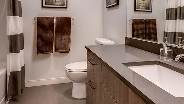 Bathroom at Juxt Apartments - Citybase Apartments