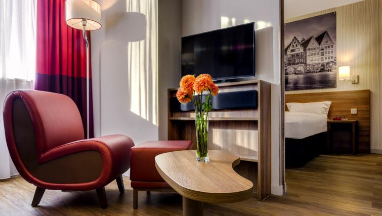 Living area at Adagio Frankfurt City Messe Apartments - Citybase Apartments