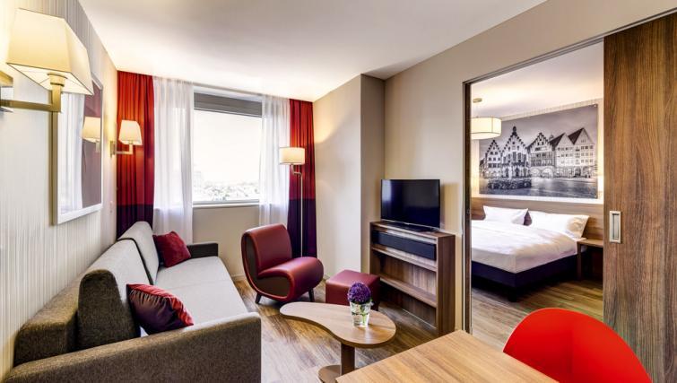 Living room at Adagio Frankfurt City Messe Apartments - Citybase Apartments