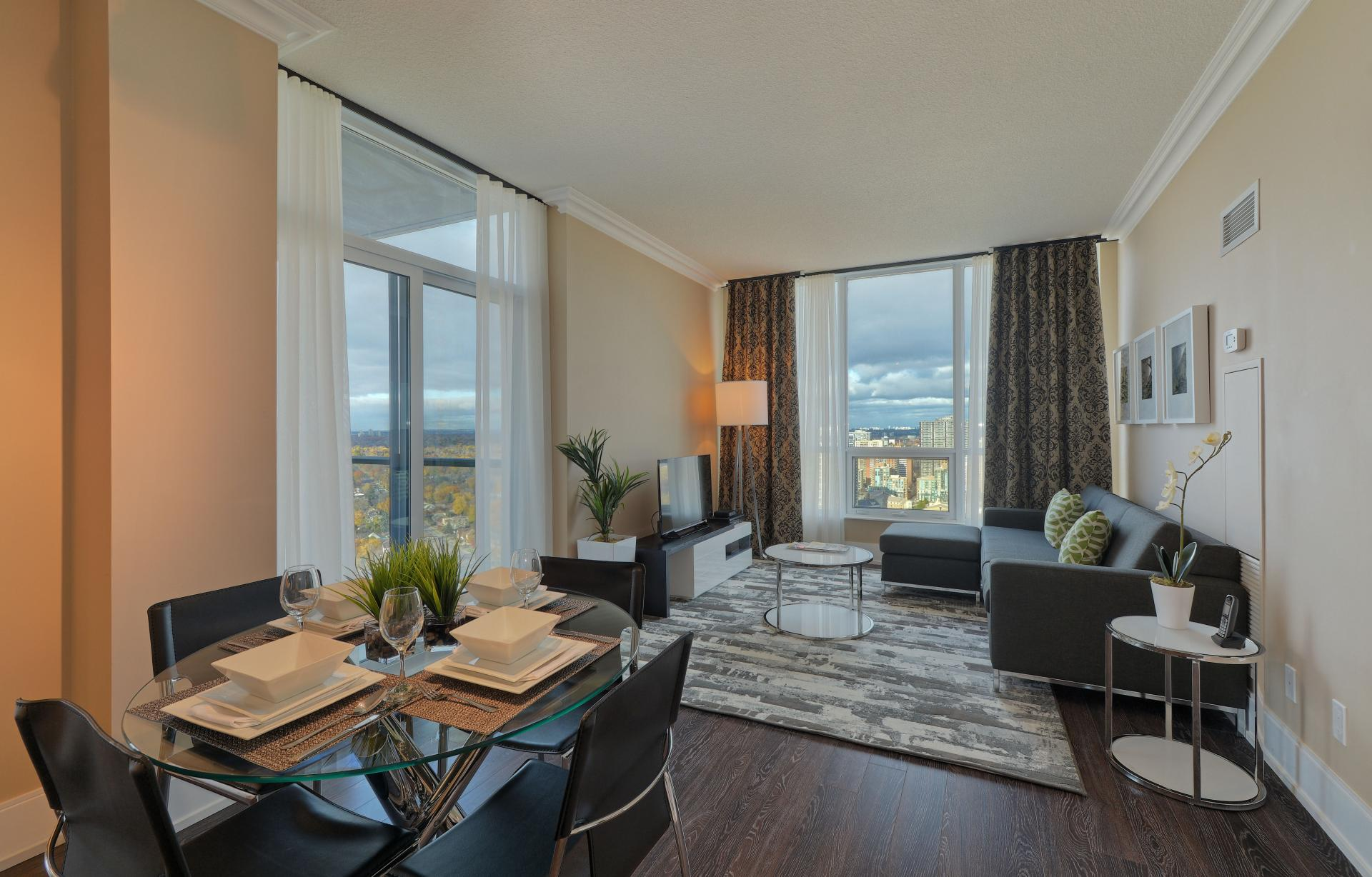 Open-plan living area at  Parc Nuvo Apartments - Citybase Apartments