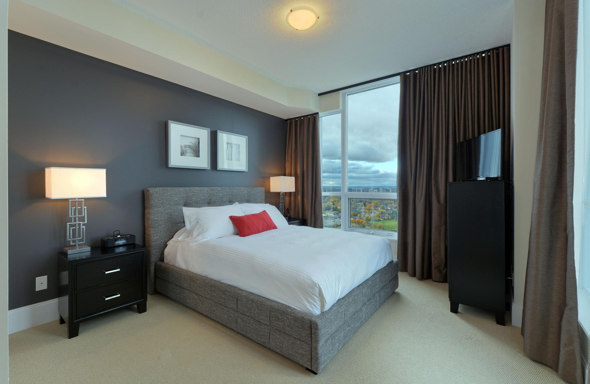 Double bed at  Parc Nuvo Apartments - Citybase Apartments