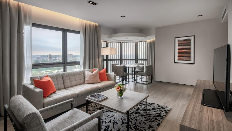 Living area at Le Grove Serviced Residences, Singapore - Citybase Apartments