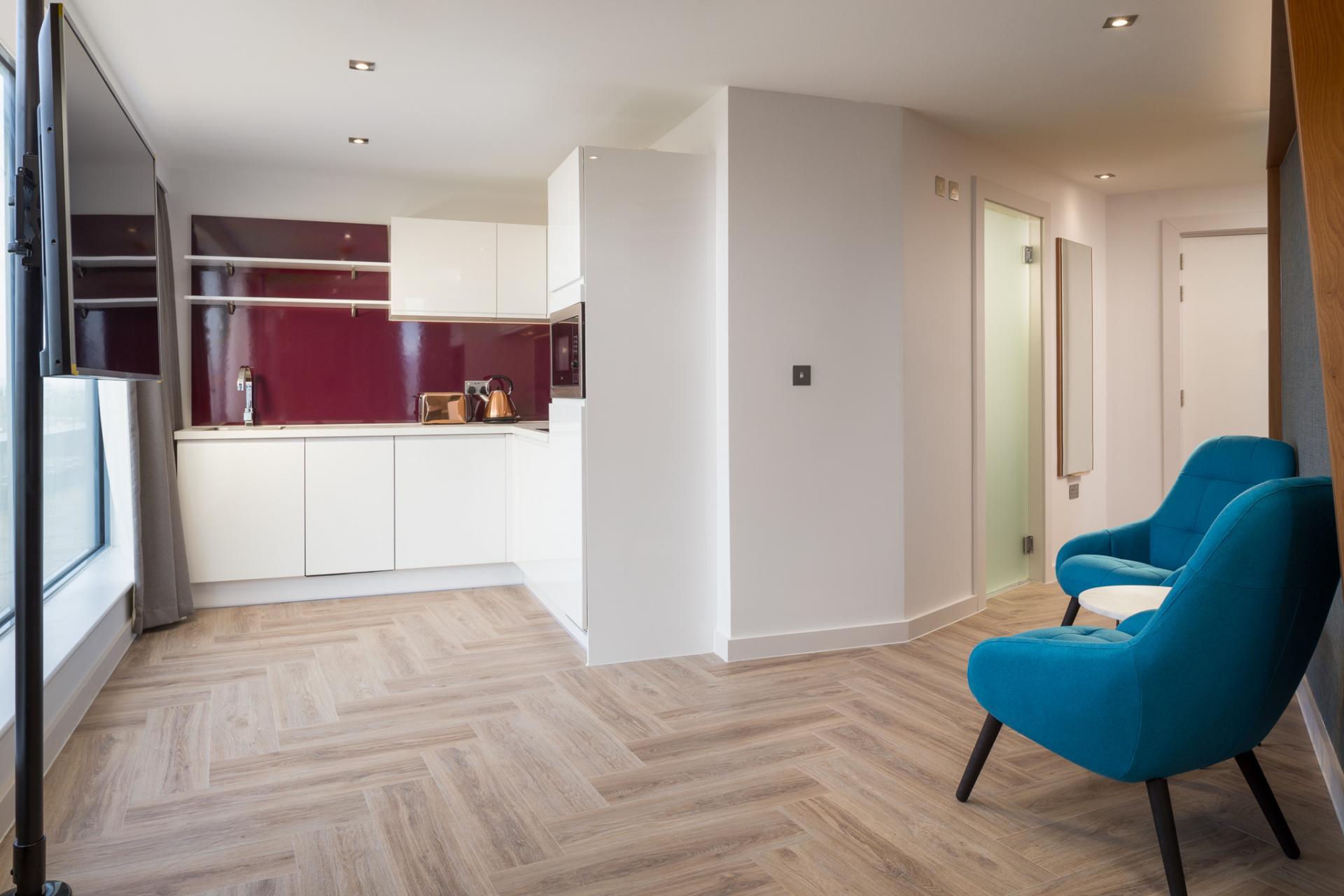 Dezign kitchen at  Roomzzz London Stratford - Citybase Apartments