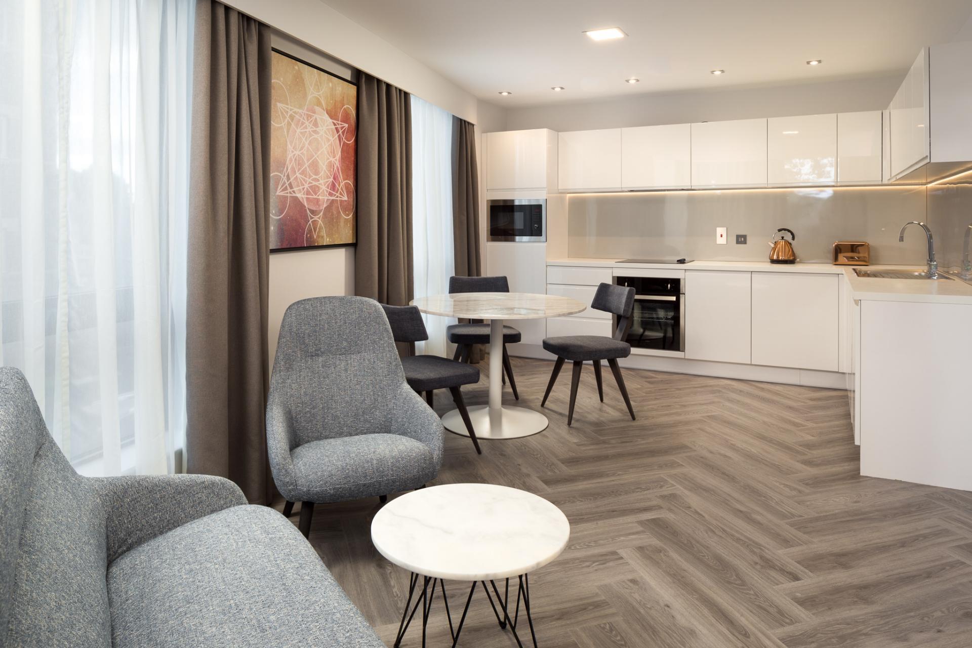 Large kitchen at Roomzzz London Stratford - Citybase Apartments