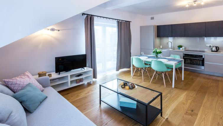 Stylish living area at Ariańska Residence - Citybase Apartments