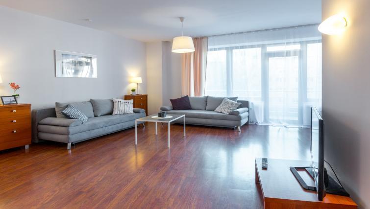 Spacious living area at Kazimierza Wielkiego Apartments - Citybase Apartments