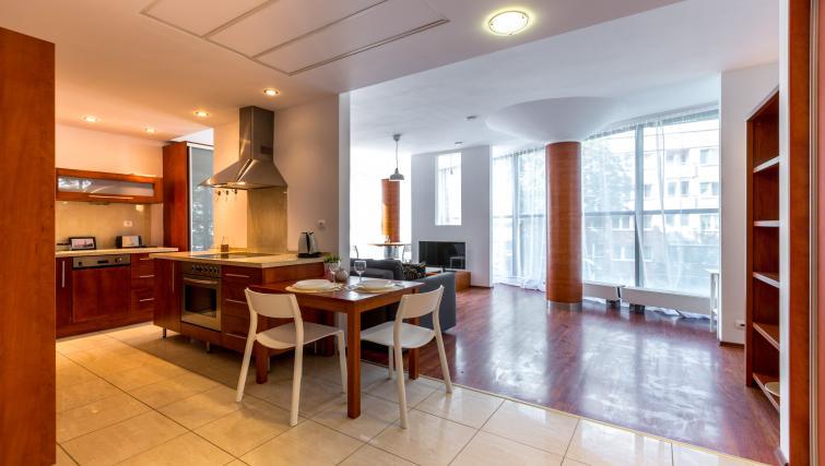 Dining area at Kazimierza Wielkiego Apartments - Citybase Apartments