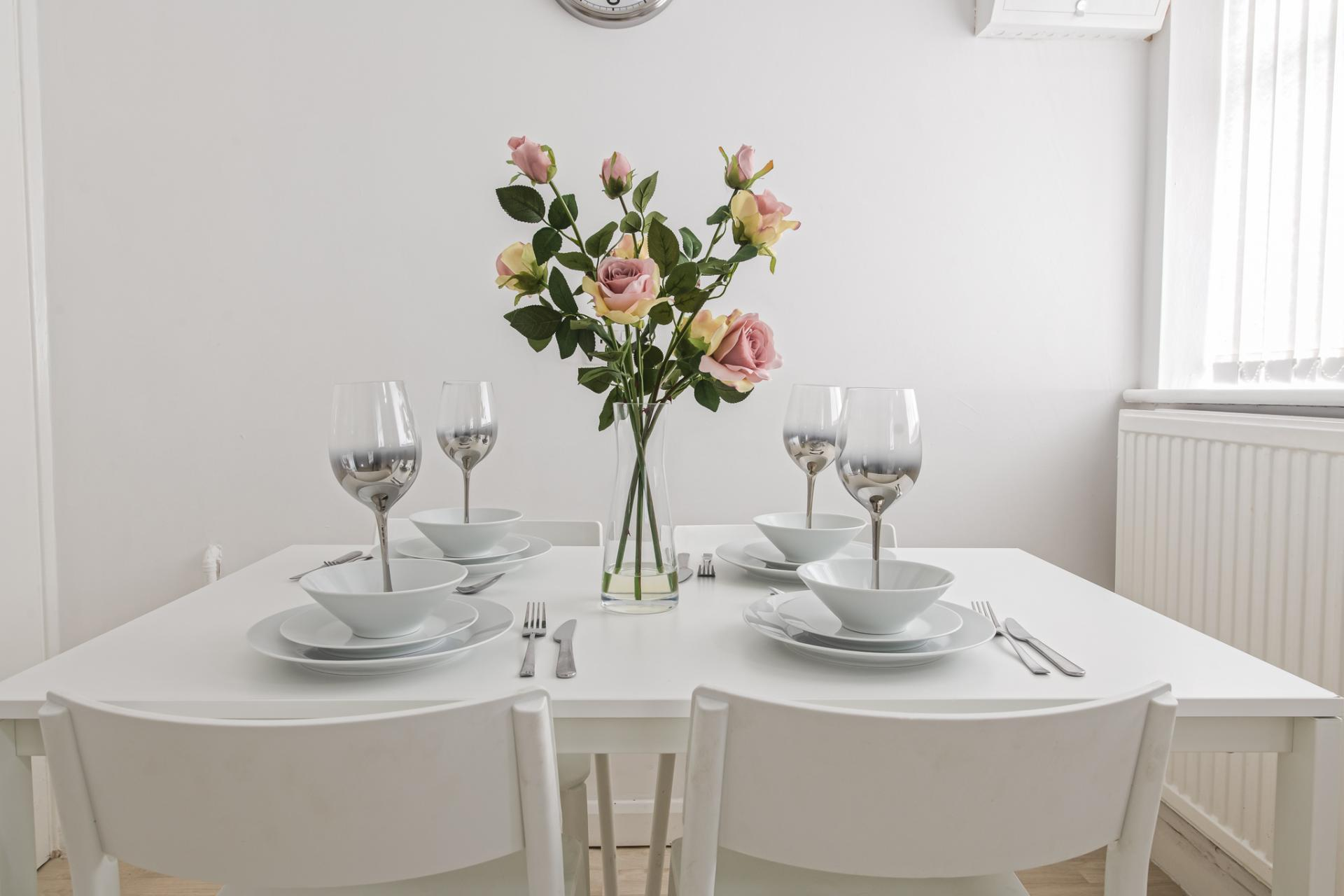 Dining table at Throstle House Serviced Apartment, Middleton, Leeds - Citybase Apartments