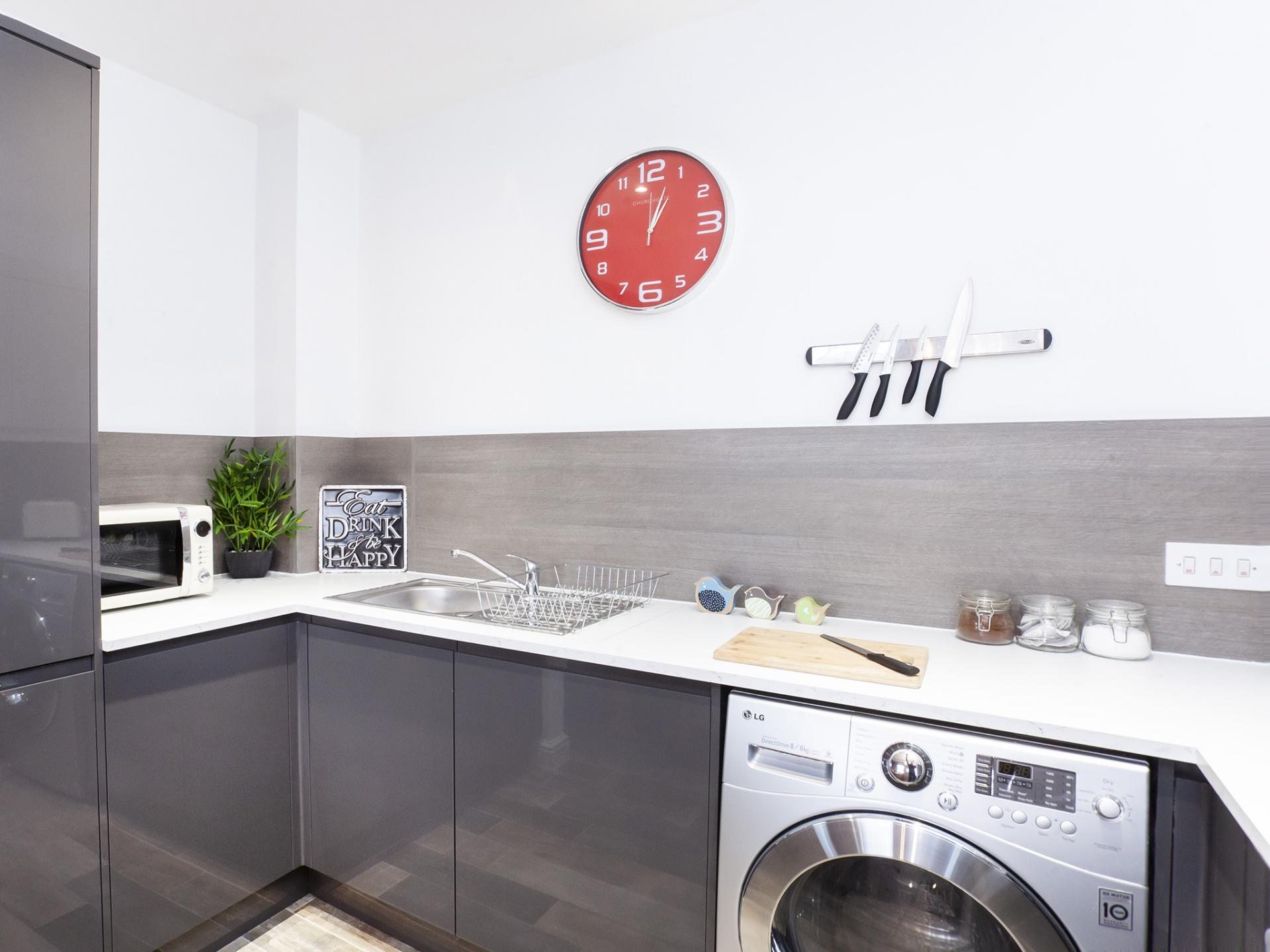 Grey kitchen at The Station apartment, Centre, York - Citybase Apartments