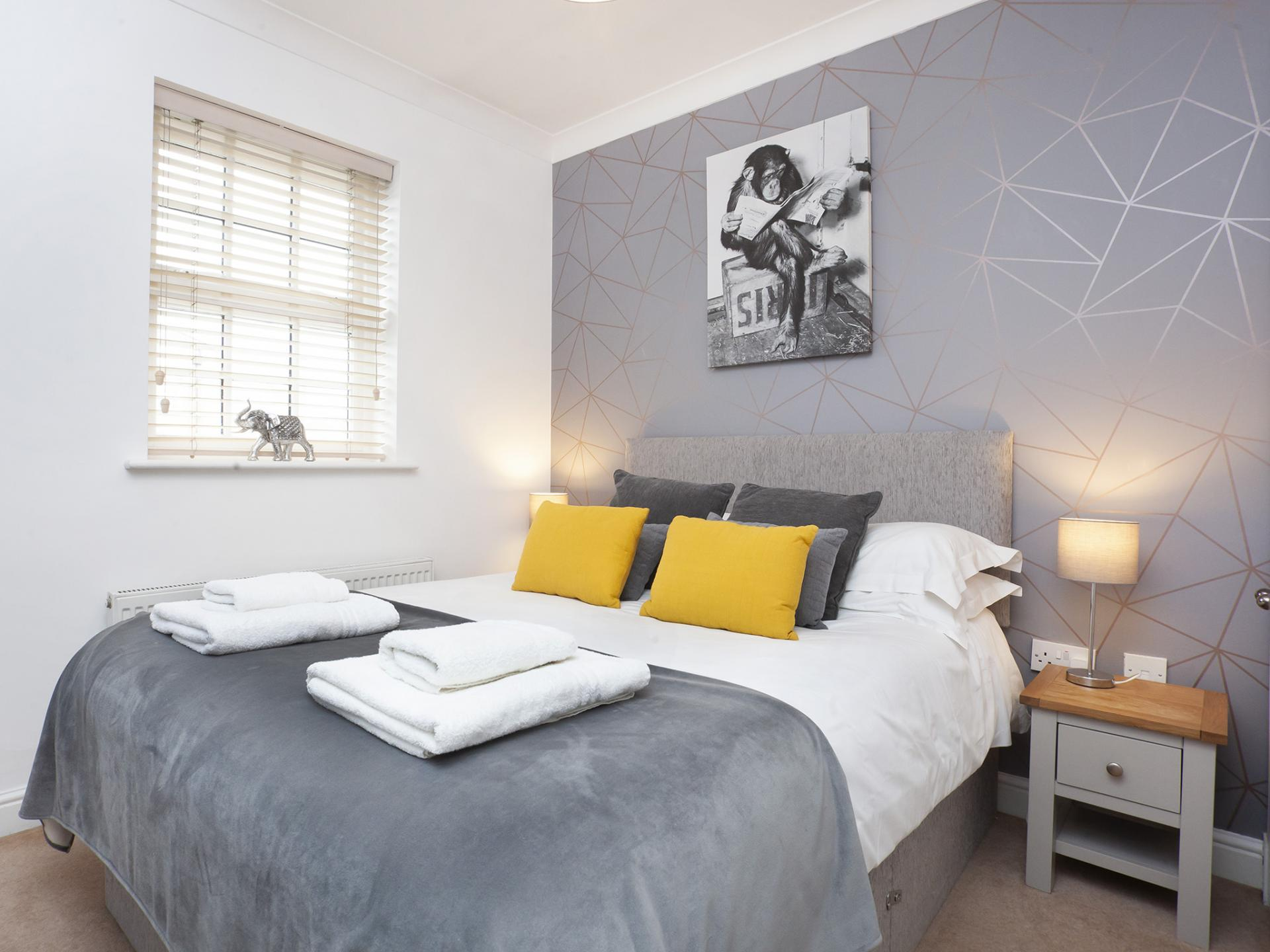 Grey Bedroom at The Station apartment, Centre, York - Citybase Apartments