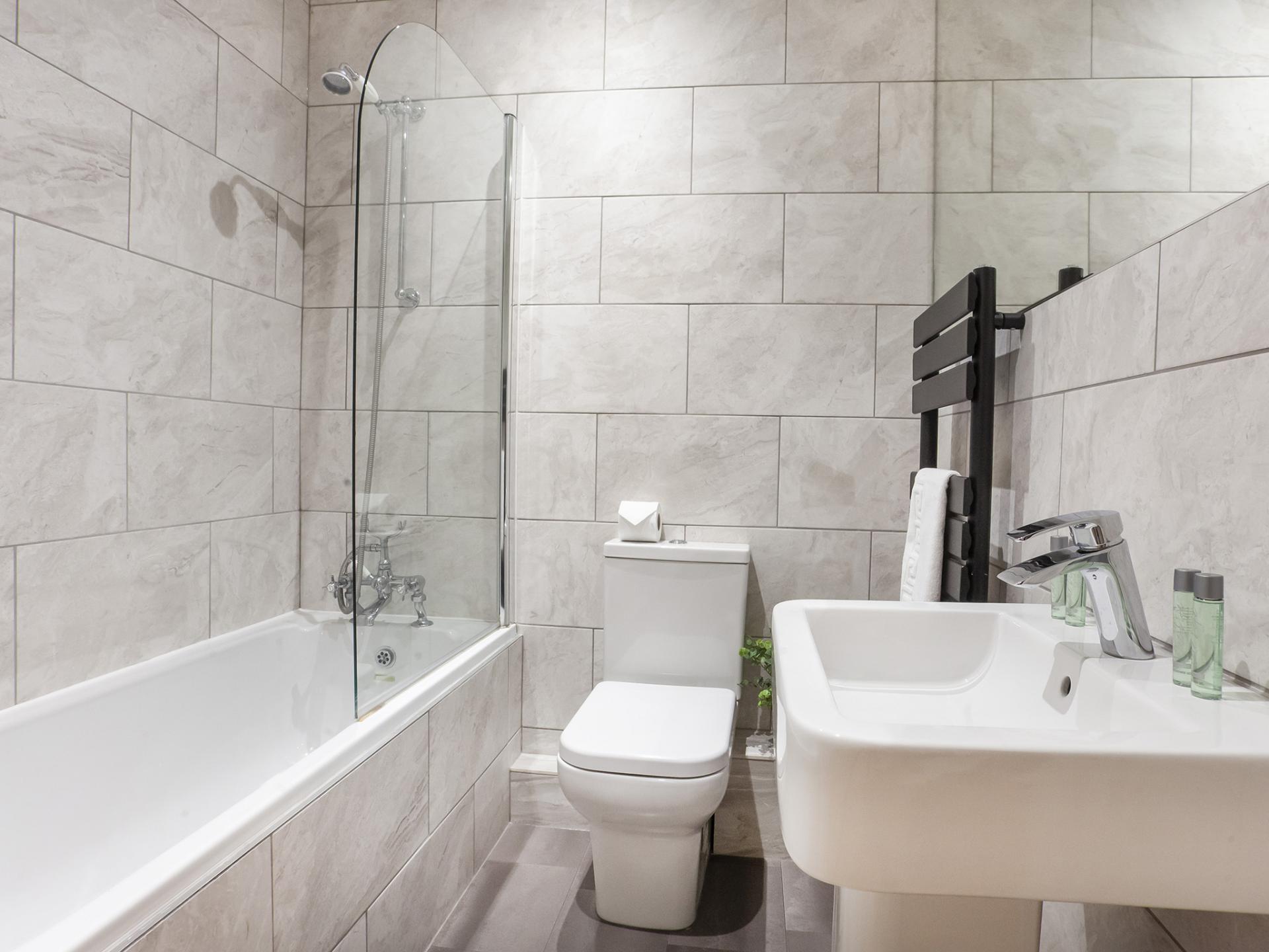 Modern Grey Bathroom The Station apartment, Centre, York - Citybase Apartments