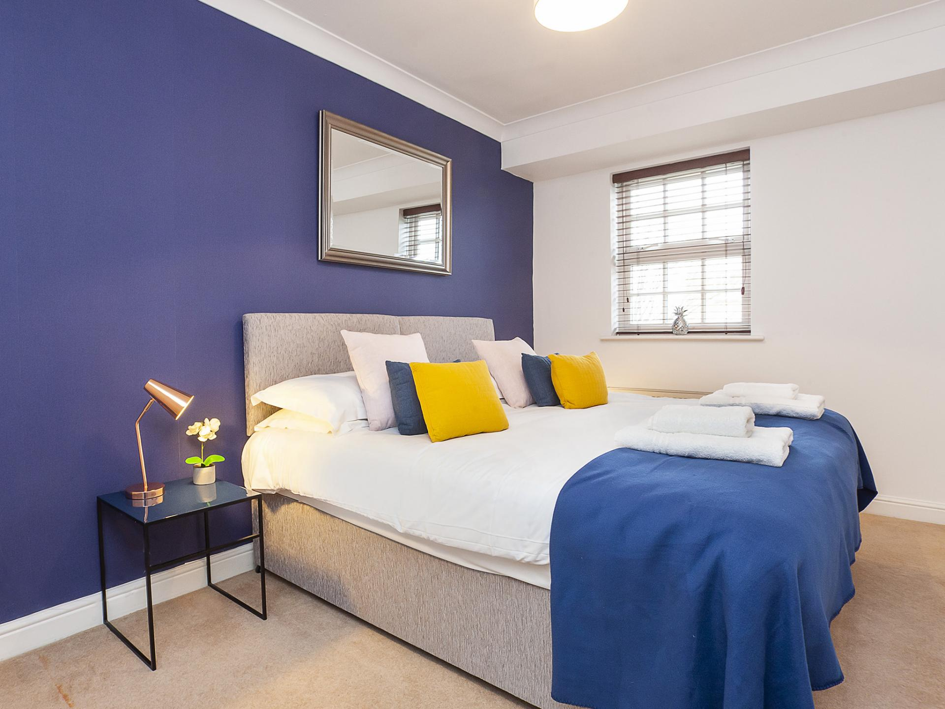 Blue Bedroom at The Station apartment, Centre, York - Citybase Apartments