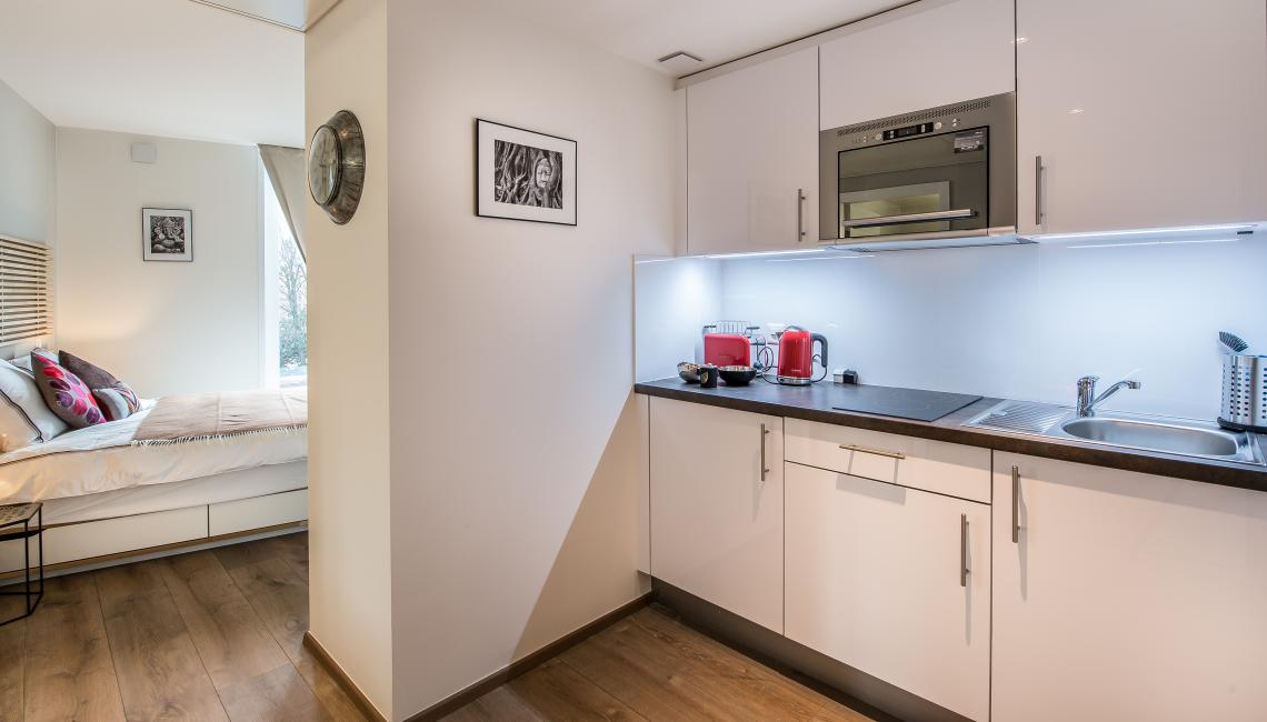 Kitchen facilities at the Noirettes Studios - Citybase Apartments