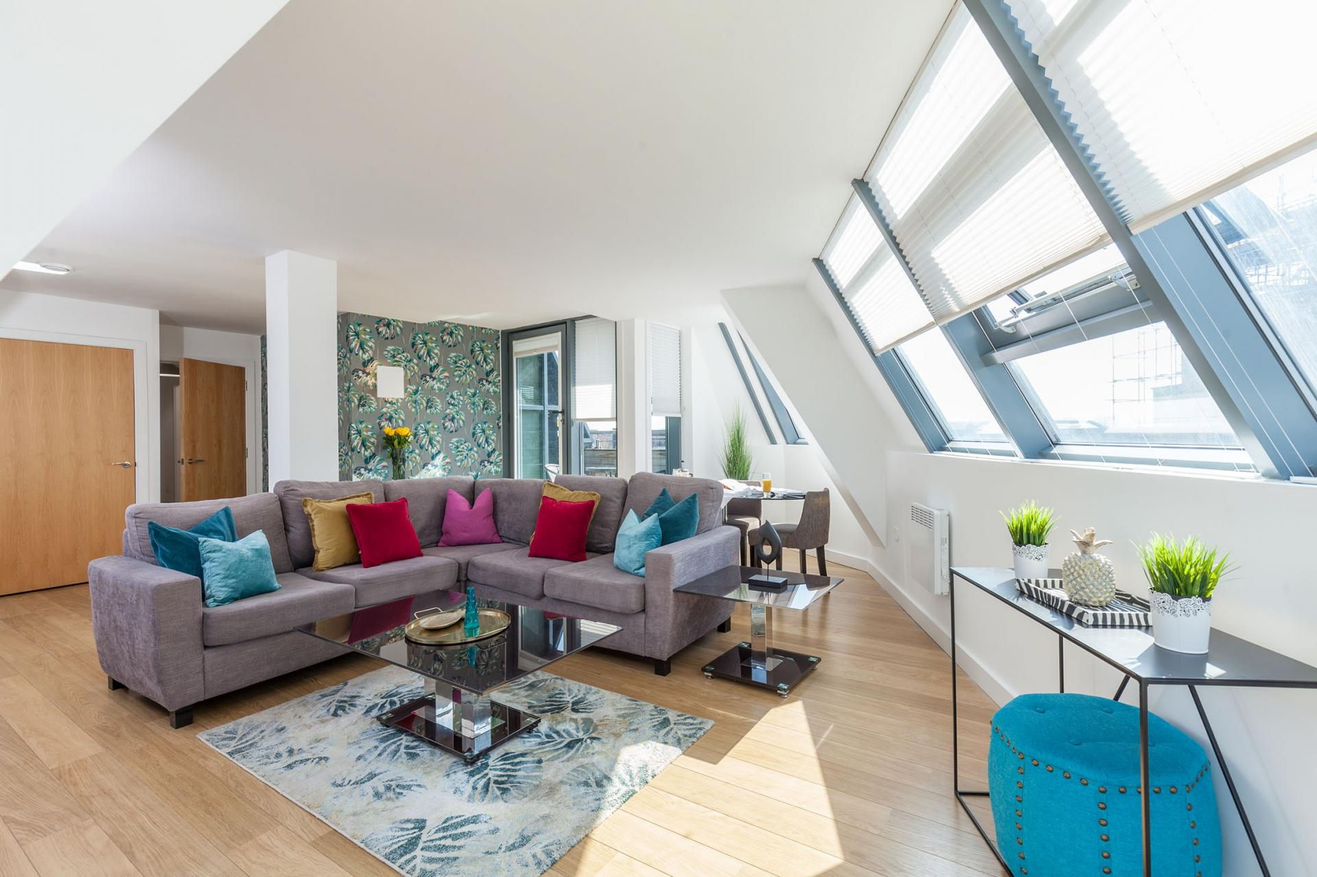 Modern living room at Waterloo Court Apartments - Citybase Apartments