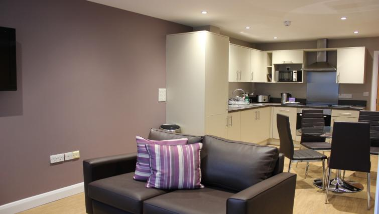 Open-plan living area at City Wall House - Citybase Apartments
