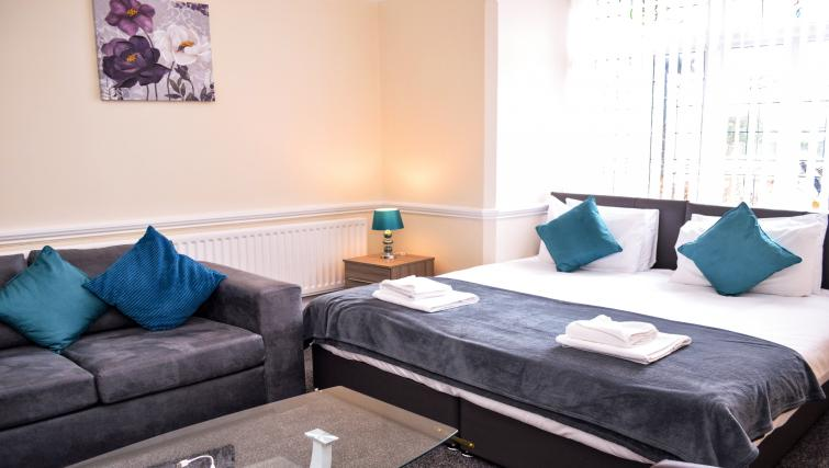 Double bed at  Orrell House Apartments - Citybase Apartments