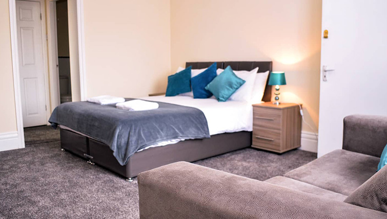 Modern bedroom at  Orrell House Apartments - Citybase Apartments
