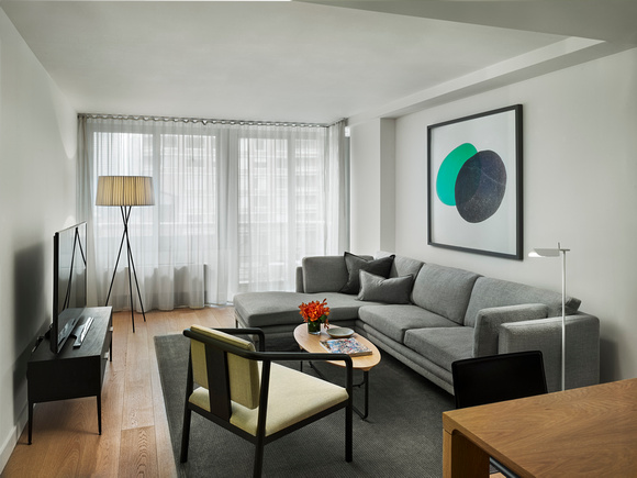 Living room at AKA United Nations, Midtown East, New York - Citybase Apartments