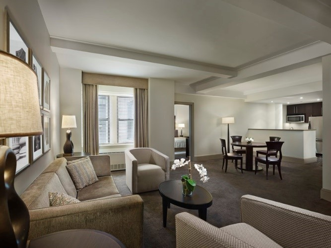 Living room at AKA Central Park, Midtown East, New York - Citybase Apartments