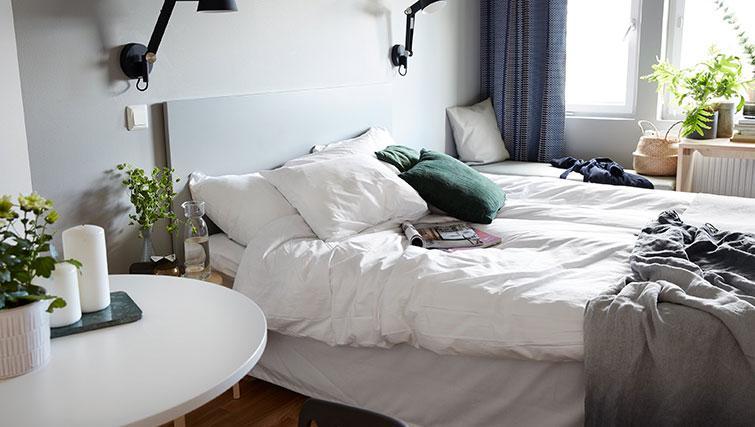Double bed in studio at Forenom Aparthotel Stockholm Kista - Citybase Apartments