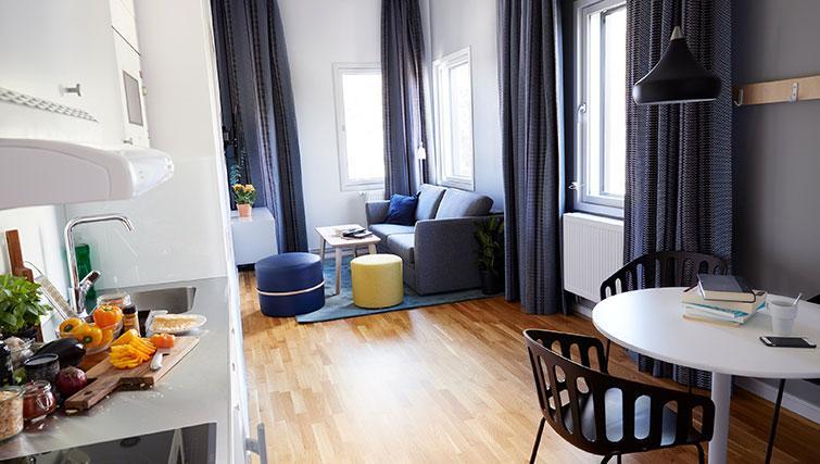 Open-plan living area at at Forenom Aparthotel Stockholm Kista - Citybase Apartments