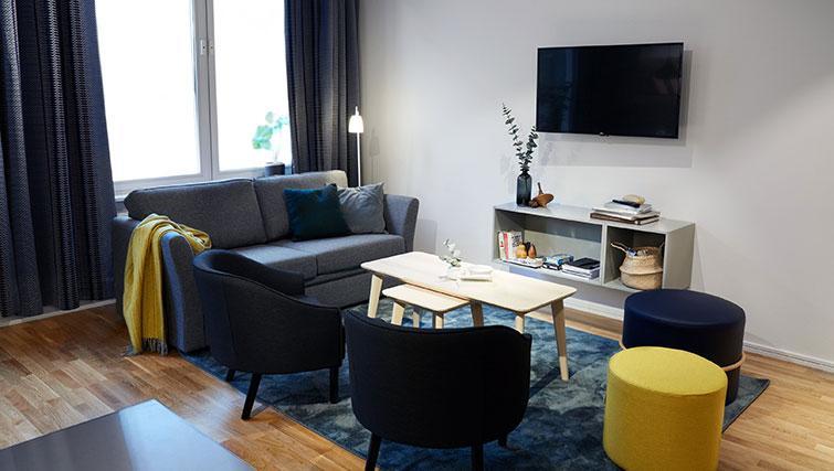2 bed living area at Forenom Aparthotel Stockholm Kista - Citybase Apartments